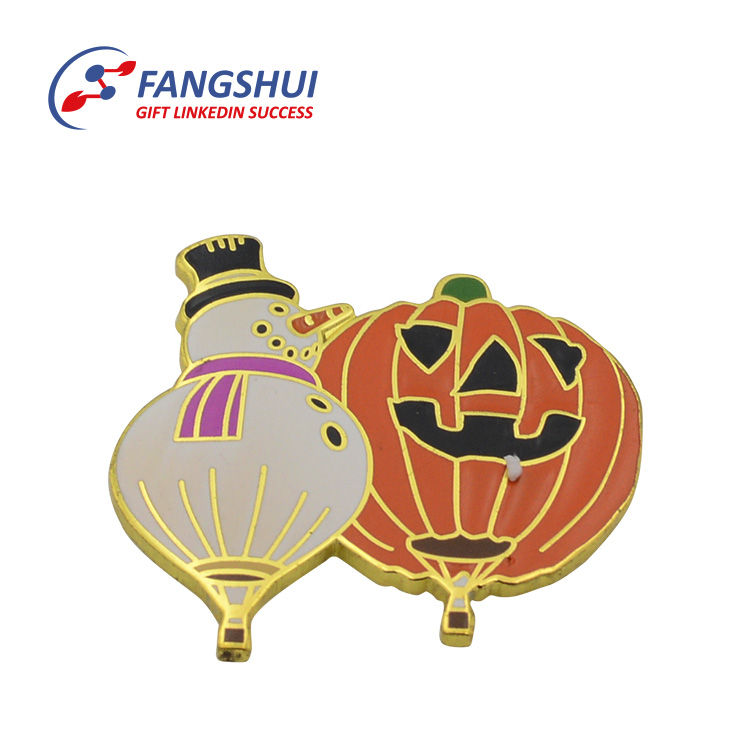 Souvenir gold plating decoration lapel pin metal,irregular shape hard enamel brass metallic halloween lapel pin