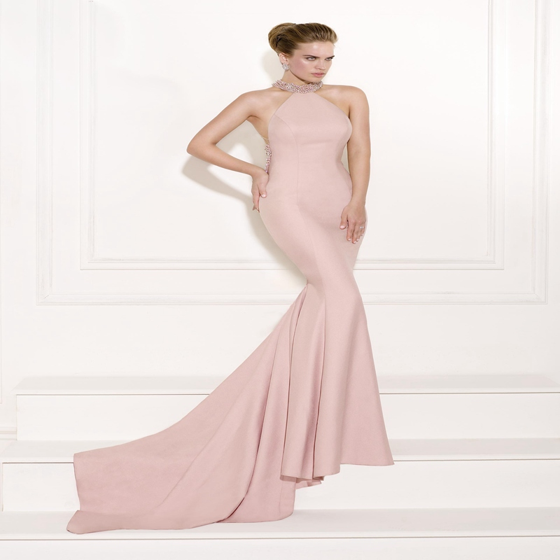 b69b063e457 Endearing Pink Mermaid Evening Dress 2015 Satin Halter Neckline Crystal Beaded  Tarik Ediz Evening Dress vestido