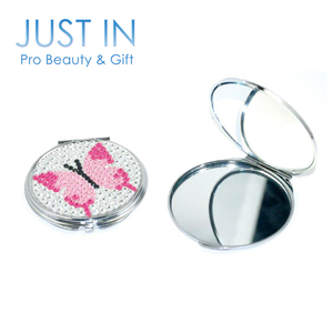 Bling Butterfly Jeweled Round Girls Cosmetic Compact Mirror Folding Makeup Mirror
