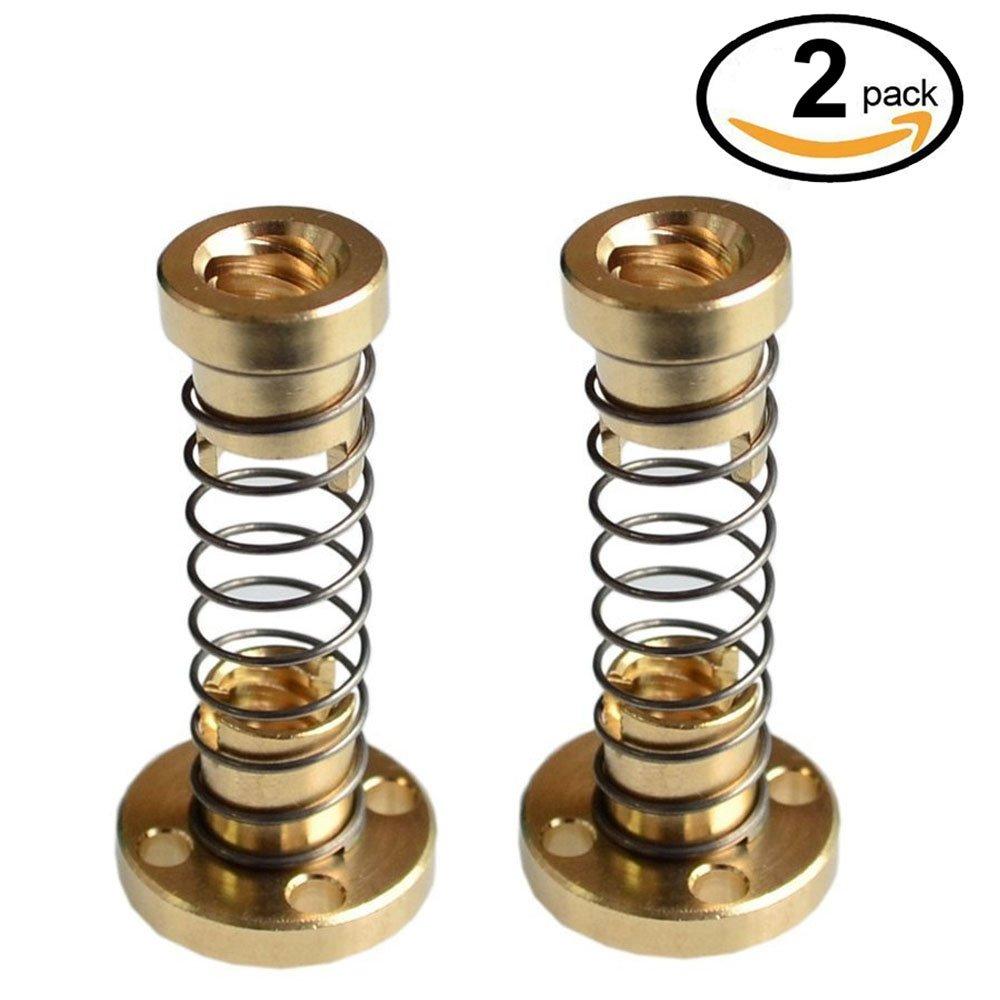 WINGONEER 2pcs T8 Anti backlash Spring Loaded Nut Elimination Gap Nut for 8mm Acme Threaded Rod Lead Screws