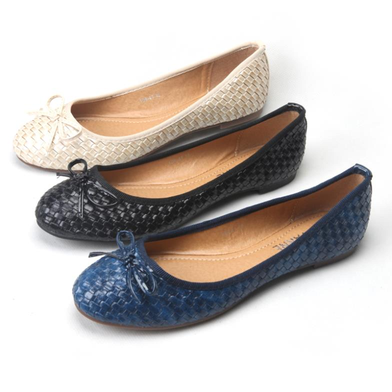 15ab5fd5ffde5 Get Quotations · New Fashion Bowtie Round Toe Slip-on Women Ballet Flats  Knitted Pu Leather Ballerinas Flats