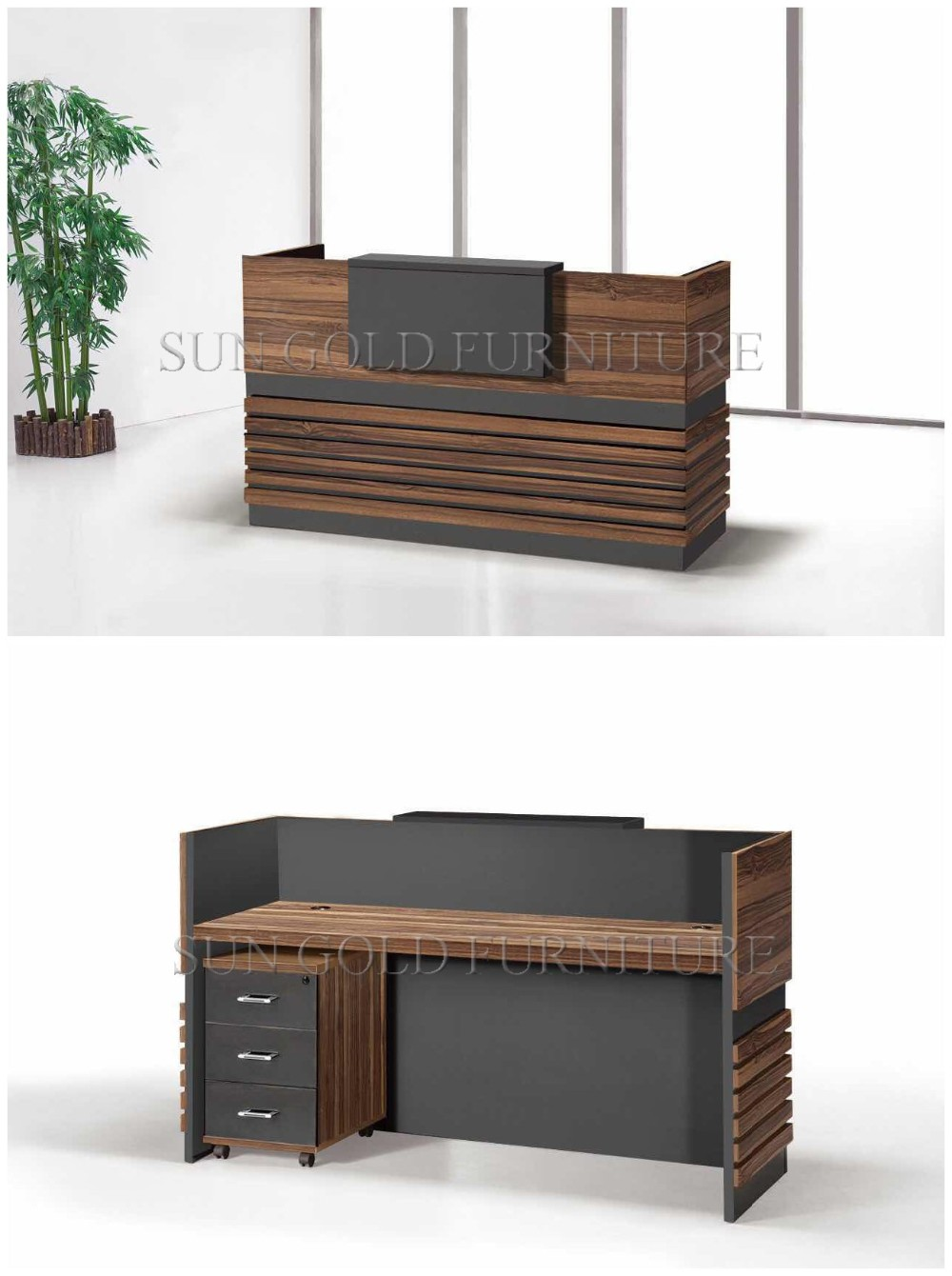 Popular Simple Design Wooden Front Office Counter Salon