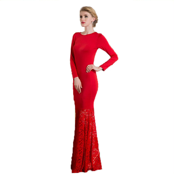 e540bcf0e10 Yihao New Women Red Long Sleeve Sexy Lace Bodycon Evening Party Ball Gown  Dress