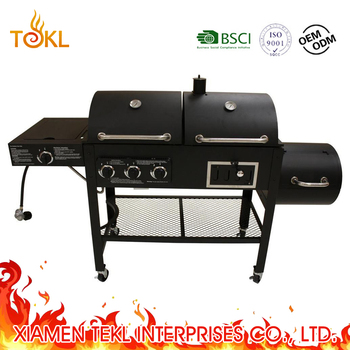 Gas Charcoal Grill Smoker Combo Combination Bbq Barbecue With Side Burner And Offset