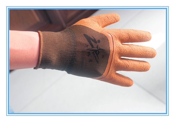 Cold resistant warm acrylic terry liner latex coated crinkle winter working gloves
