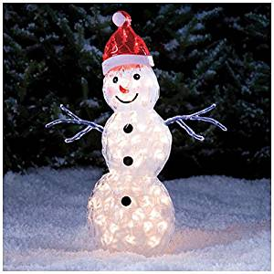 "Lighted ice snowman sculpture Yard Art Decoration 30"" tall"