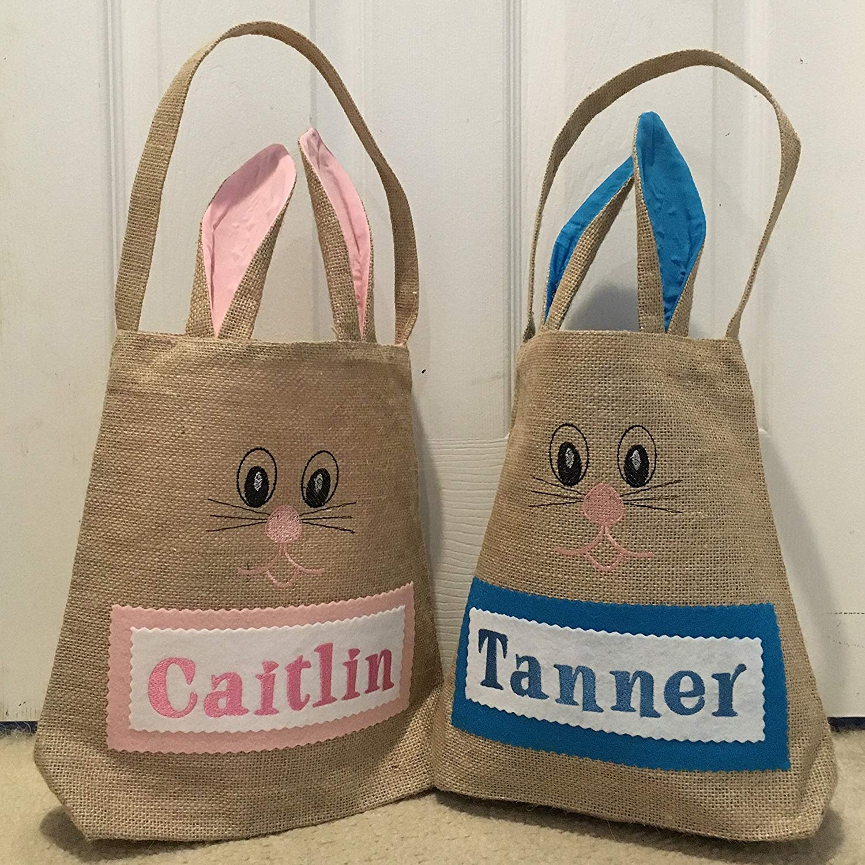 Personalized Easter Basket - Burlap Bunny Bag - Easter Basket - Easter Bag - Easter Basket With Bunny Ears - Custom Easter Basket - Hemp Bunny Bag