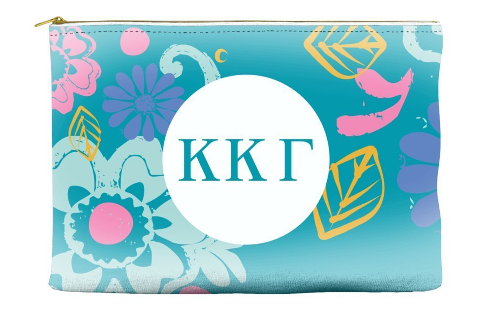 Kappa Kappa Gamma 60s Heart Teal Cosmetic Accessory Pouch Bag for Makeup Jewelry & other Essentials