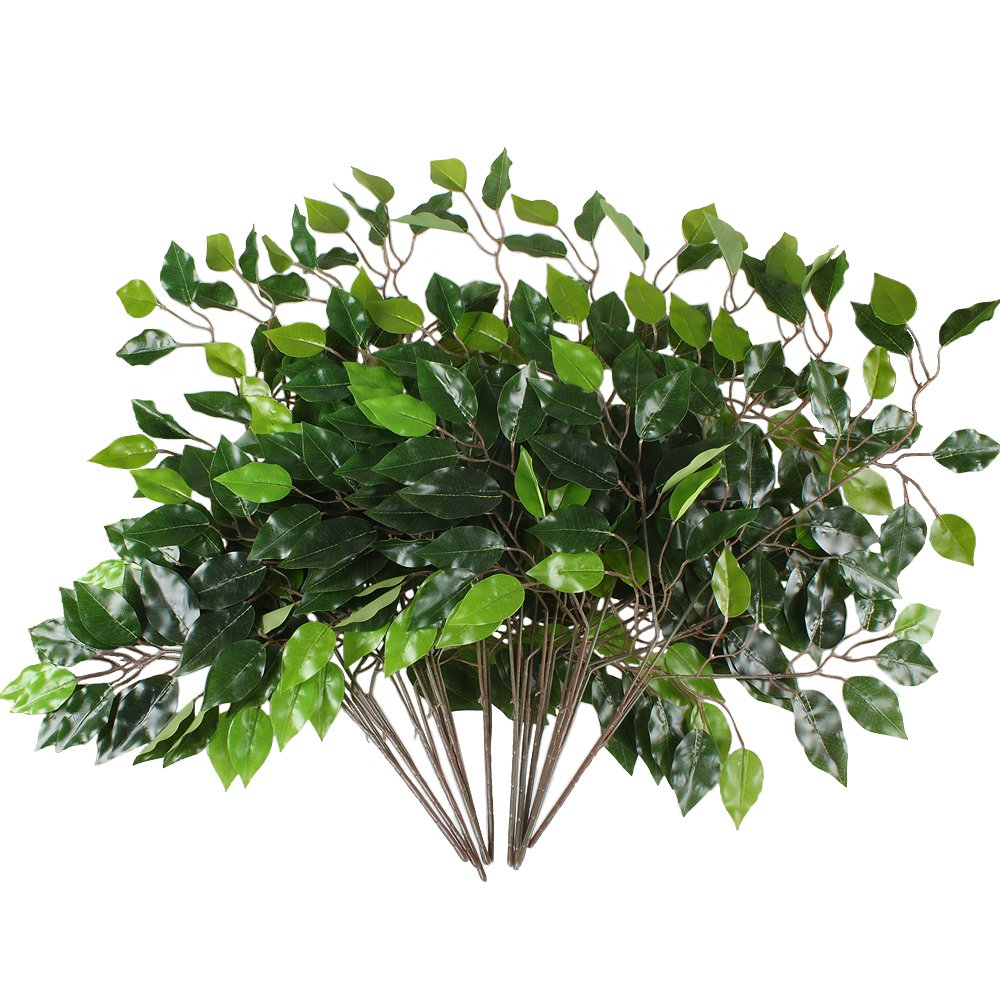 GTIDEA 12pcs Artificial Silk Ficus Tree Branches Faux Fake Lamination Green Leaves Arrangements Anti-UV Home Garden Office Market Restaurant Wedding Decor