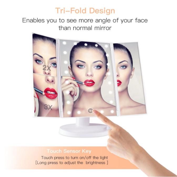 Diodo emissor de luz dobrável que ilumina o espelho da composição do Desktop de três lados para meninas da vaidade