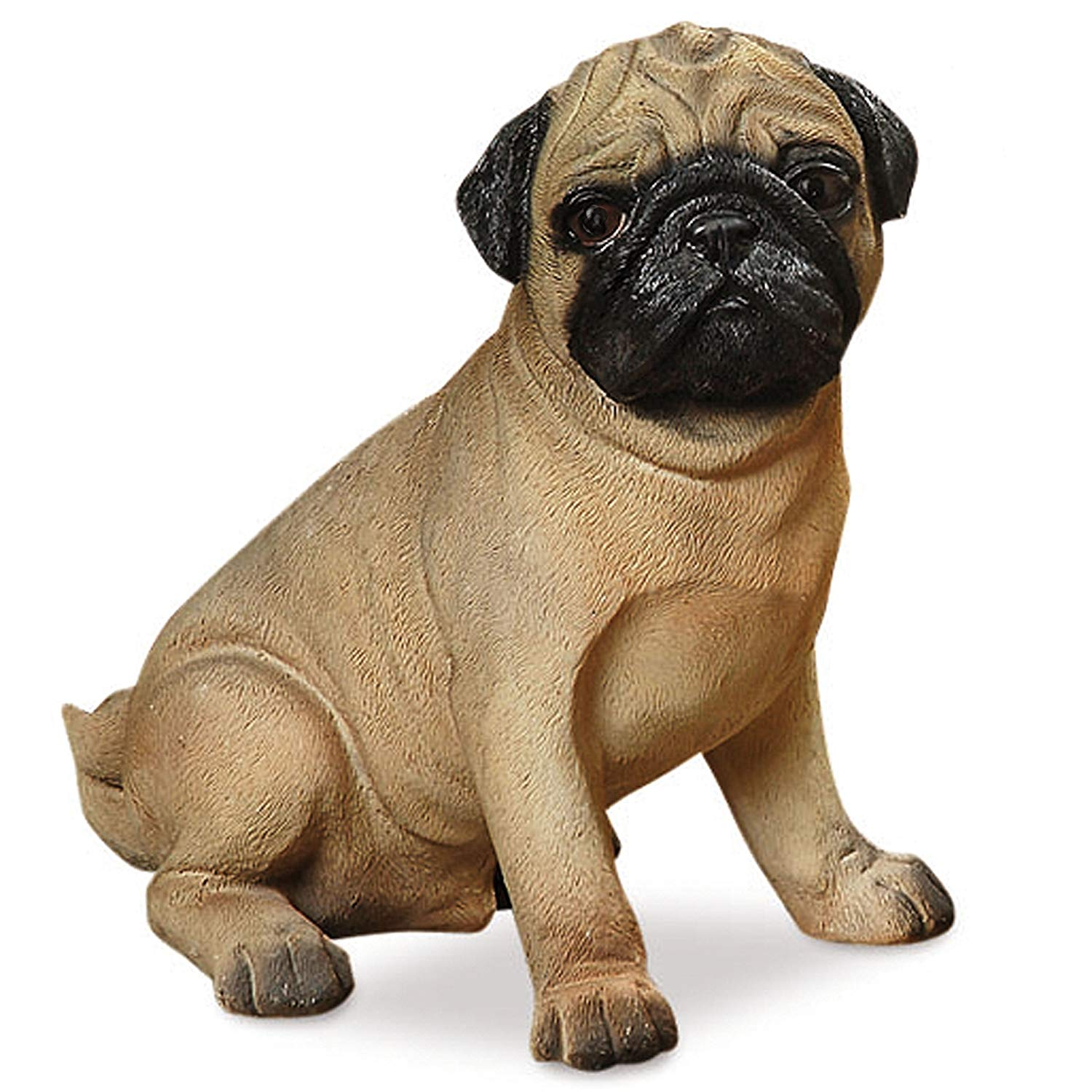 Whole House Worlds Perry Pug, The Seated Puppy Dog Statue, For Indoor and Garden Displays, Ultra-realistic Figurine, 1 Ft Tall, Hand Cast and Painted, Polyresin