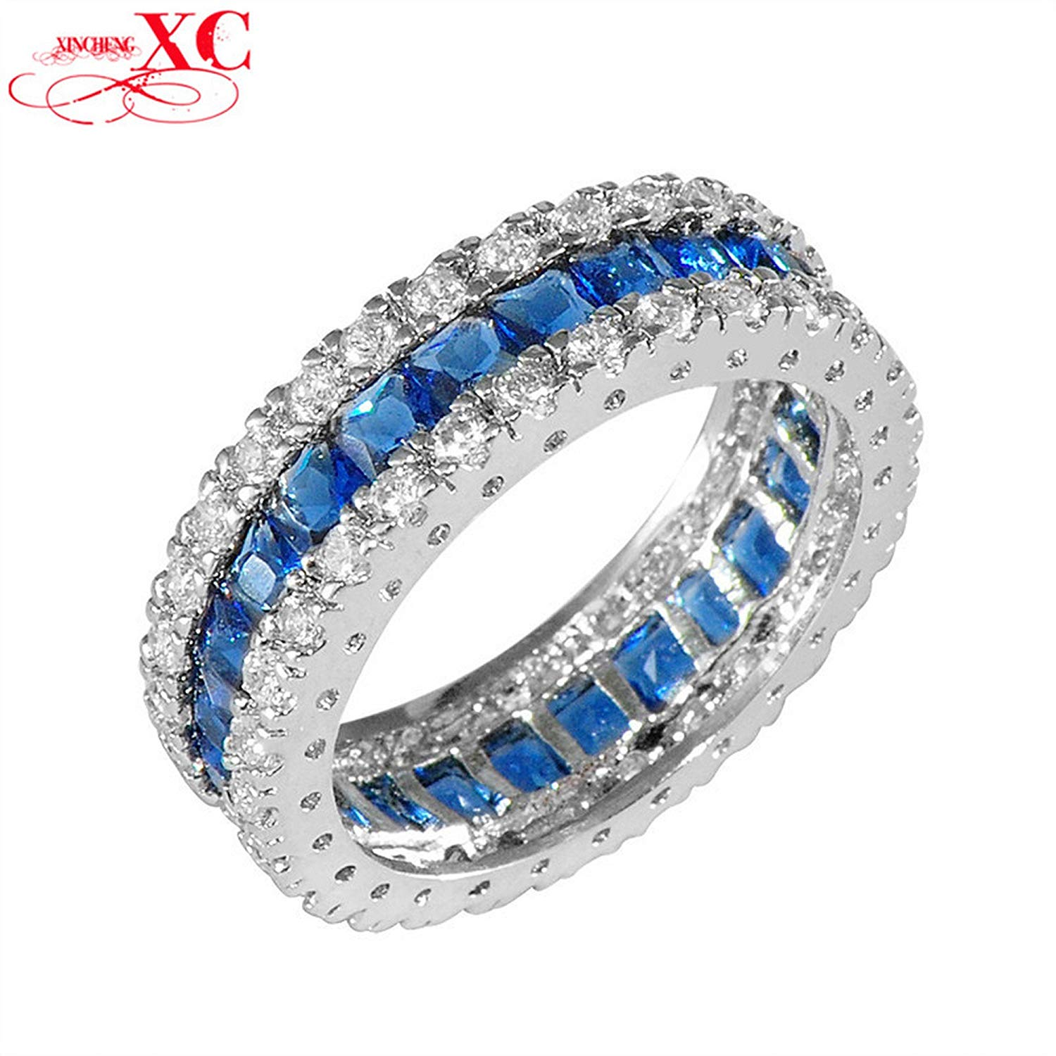 GDSHOP Fashion Blue Sapphire Vintage Jewelry Women/Men Wedding Ring Anel White CZ White Gold Filled Engagement Band Rings Sz6-10