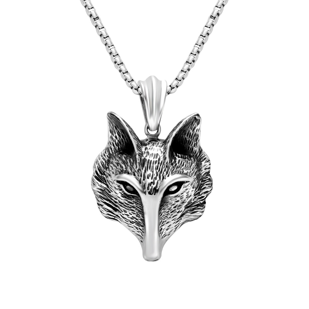 Latest model fashion stainless steel chain animal wolf head necklace for men