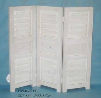 3pieces Folding Antique White Wooden Room Divider Screens For Home Decor