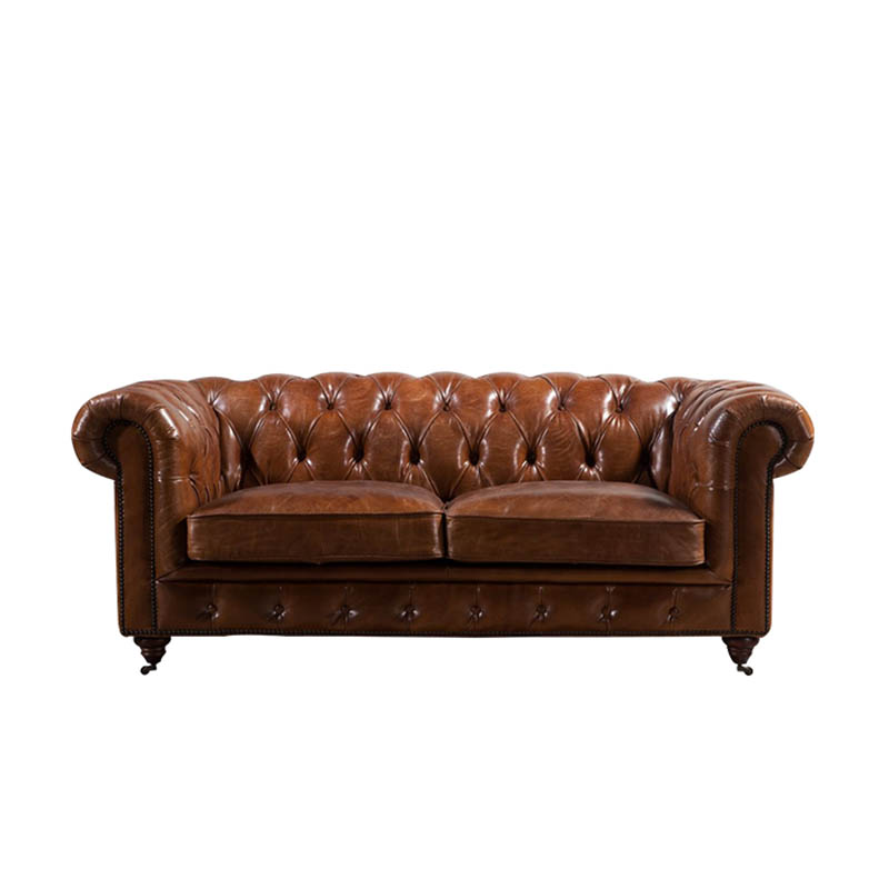 Rustic Tan Leather Chesterfield Sofa