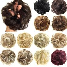 Girls Curly Scrunchie Chignon With Rubber Band Brown Gray Synthetic Hair Ring Wrap For Hair Bun Ponytails