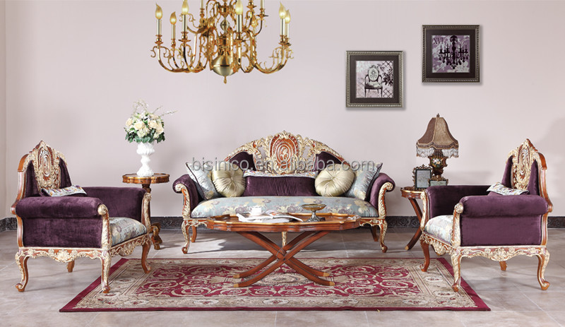 Vintage Wood Carving Sofa Set With Single Chair, Replica Palace Living Room  Furniture