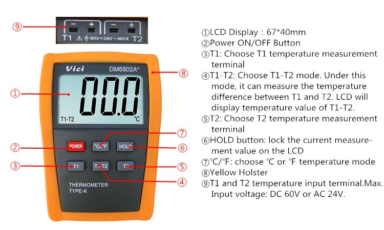 DM6802A+ 1999 digits multi-channel digital lcd thermometer with function protection