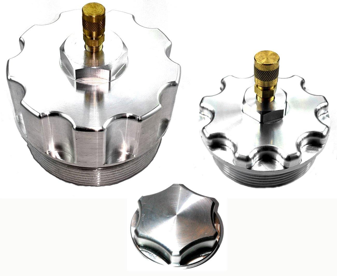 Billet Aluminum Oil Filter, Fuel Filter & Oil Filler Cap Set w/ Test Ports for 2003-2007 Ford 6.0L Powerstroke