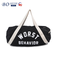 China factory direct custom foldable cotton canvas gym duffel bag with printing for outdoor sports