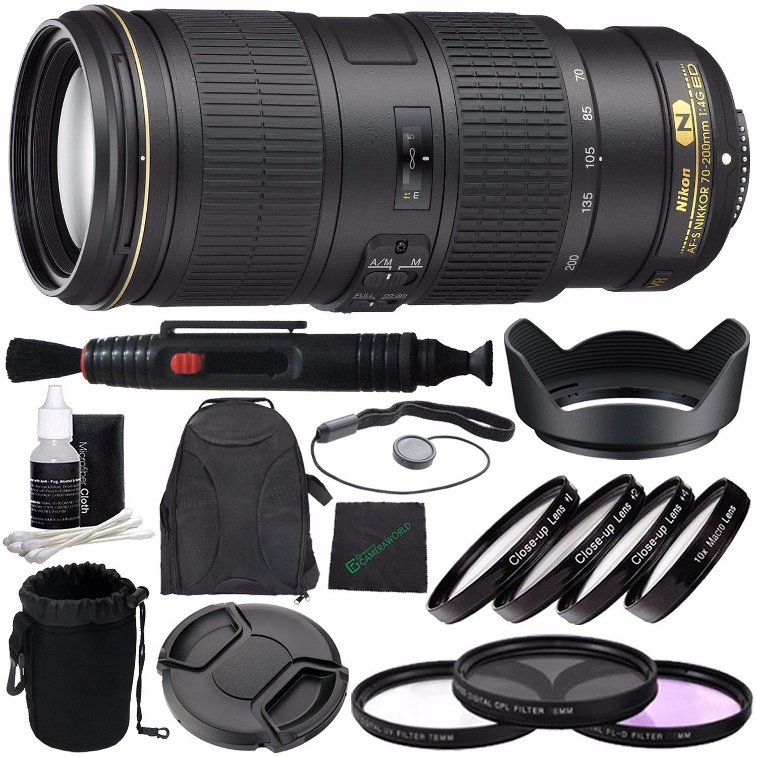 Nikon AF-S NIKKOR 70-200mm f/4G ED VR Lens + 67mm 3 Piece Filter Set (UV, CPL, FL) + 67mm +1 +2 +4 +10 Close-Up Macro Filter Set with Pouch + LENS CAP 67MM + 67mm Lens Hood + Cloth + Pouch Bundle