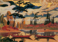 Abstract Landscape Mist Fantasy Mountain and Lake Reflections Oil Paintings