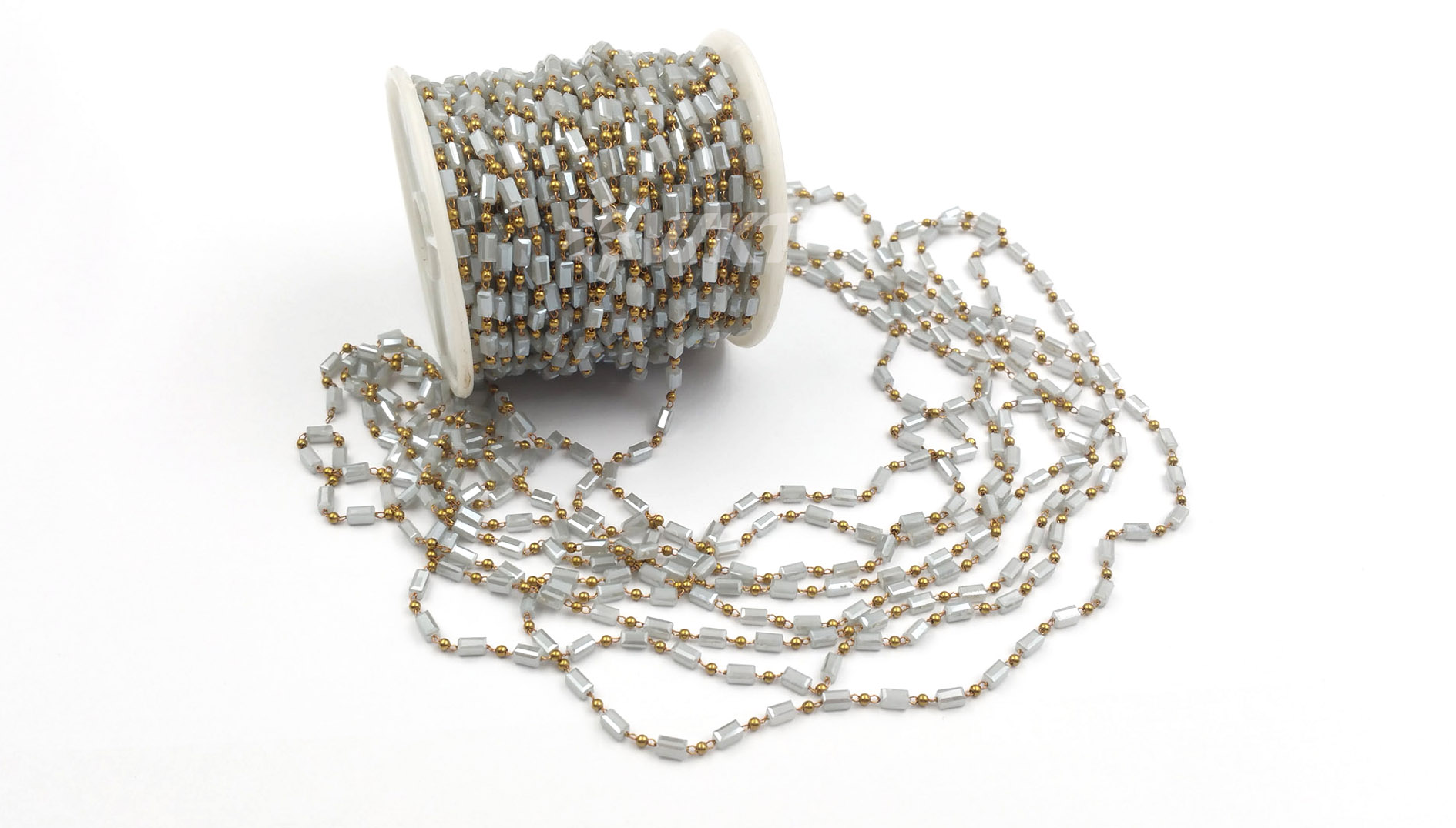 WT-RBC078 Fashionable Elegant Grey Jewelry Chain for All to Wear and Various Colors to Choose brass crystal beads chain