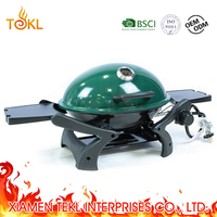 Outdoor Round Tabletop Gas Grill Propane Grill Barbecue Chicken Gas Oven with Green Lid&Trolley BBQ Cart