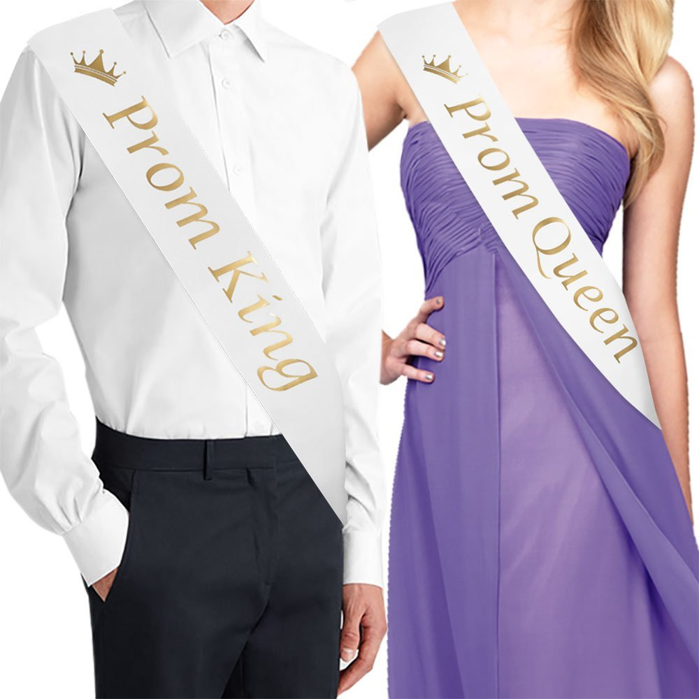 White with Gold Print /… School Dance Graduation Party School Party Accessories Set of 2 Prom Court Sash