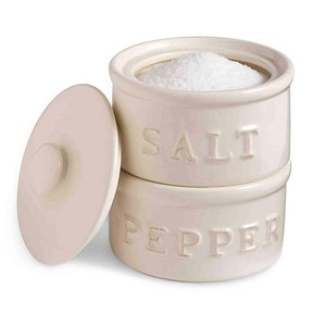 White Ceramic Salt and Pepper Cellar