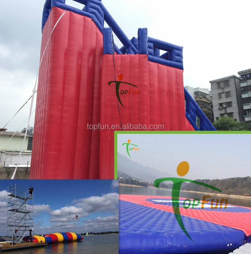 floating island inflatable stunt jumping everest platform eiffel water tower