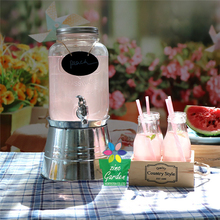 2017 Most Popular large iced Drink Glass Beverage Dispenser with Galvanized metal base