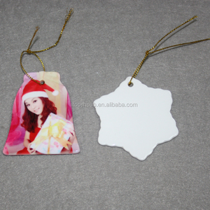 Personalized deaigns blank sublimation ceramic christmas tree flat ornaments in bulk
