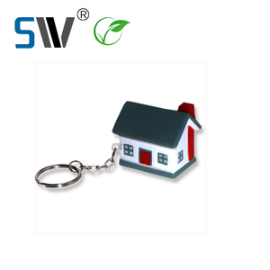 Factory wholesale custom high quality 3D key ring house shaped home keychain