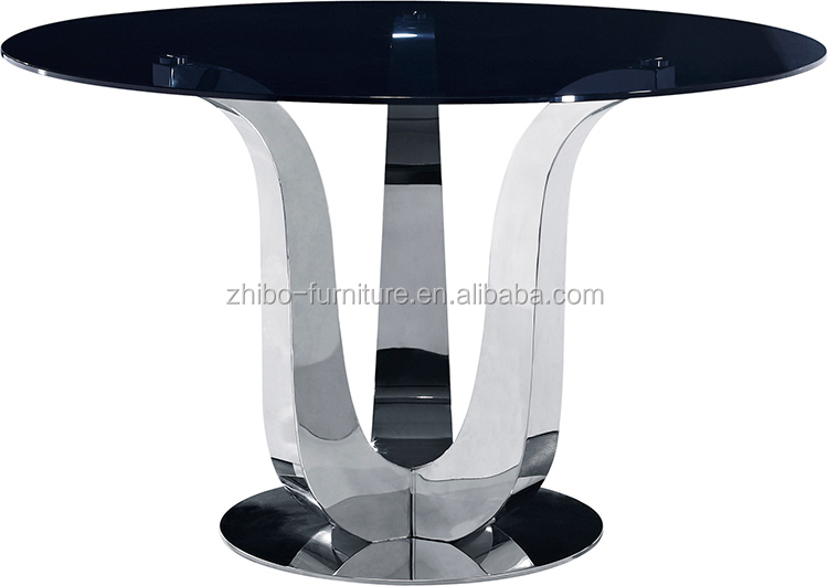 Fashion Simple Design Stainless Steel Pedestal Table Base Glass ...