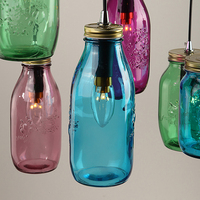 Colored Glass Shade Ceiling Chandelier Fitting Vintage Retro Pendant Lamp Shade
