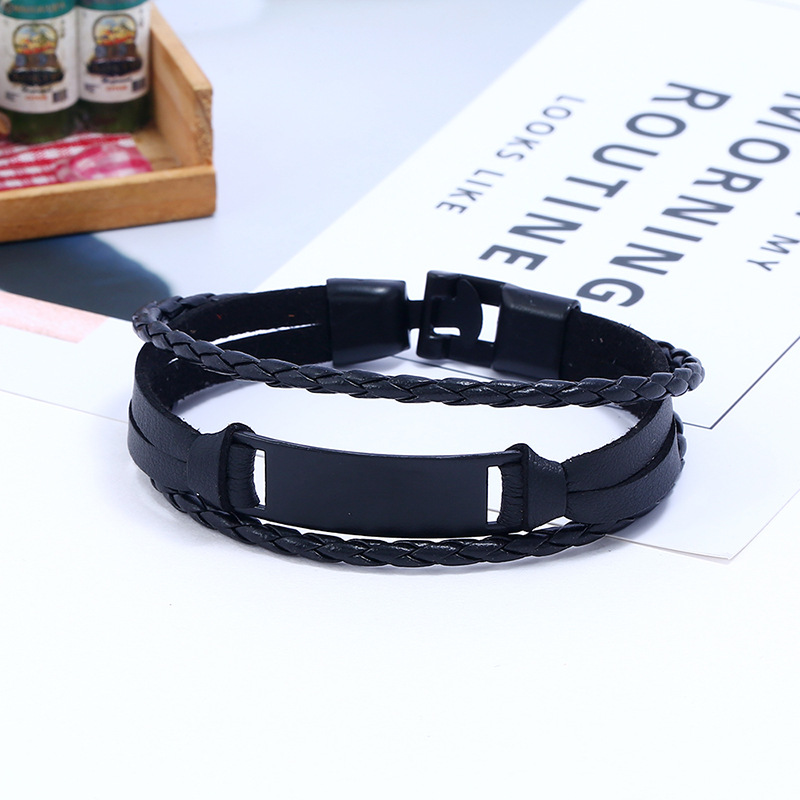 Metal toggle Clasp Wrap Around Bracelets Leather 3 Layer Leather Cuffs Plating Alloy Plain Leather Bracelet For Unisex