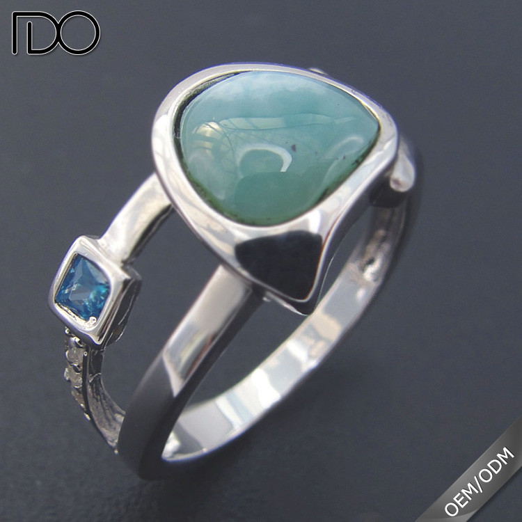 Fashion new design larimar silber rings 925 with stone