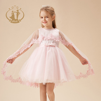 Nimble Children Wedding Dresses For Latest Girl Flower Lace Bowknot Sleeveless With Lace Shawl Design Frocks For Kid