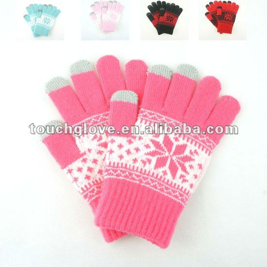 2015 knitted wool Christmas snowflake soft touch screen gloves