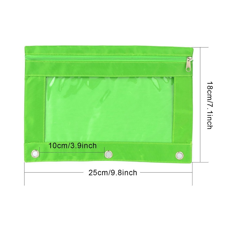 Pvc canvas fabric polyester pencil pouch 3 ring pencil case