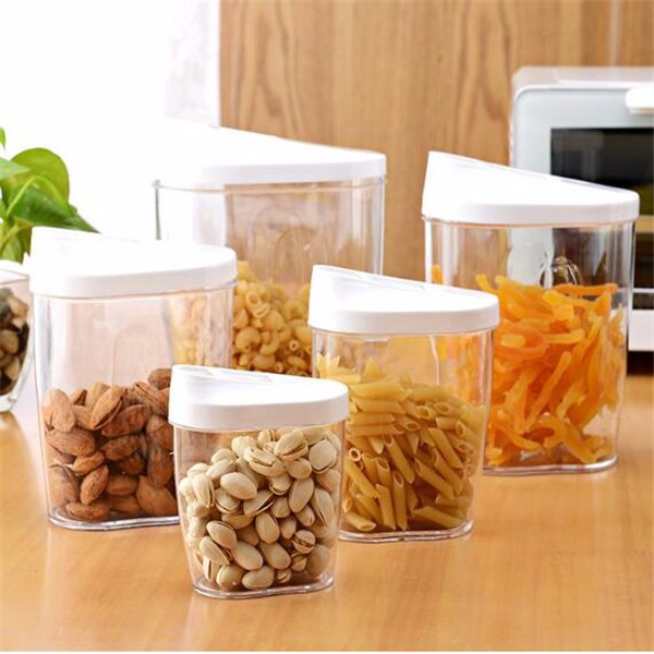 Portable Plastic Dry Food Container Clear Round Fridge Storage Box - Kitchen storage boxes