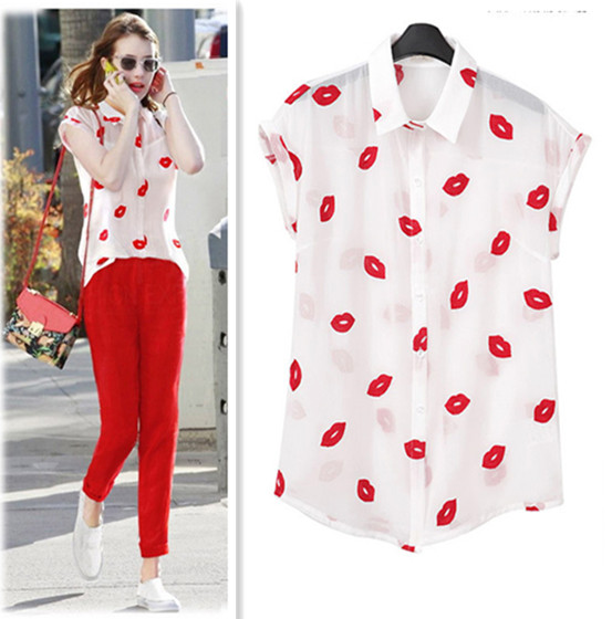 White Blouse Summer Style Sexy Casual Blusas Femininas 2015 Vintage Print White Red Lip Korean Chiffon Blouse Plus Size Tops