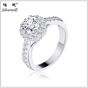 Unique sterling 925 silver cz pave solitaire ring in rhodium plated