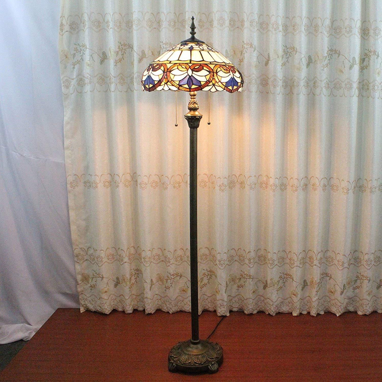 NN 16-Inch Vintage Floor Lamp European Pastoral Style Elegant Luxury Creative Handmade Stained Glass Lost In Purple Series