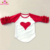 Boutique Girls Red Heart Valentine's Day Children Clothes Outfit 3/4 Sleeve Baby Toddler Ruffle Raglan T Shirts