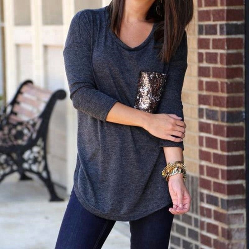 C71 2015 new long sleeved best friends t shirt pocket sequins womens shirts camisetas y tops ropa mujer