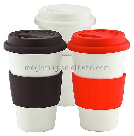 14oz double wall ceramic coffee to go mug with silicon lid
