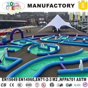 outdoor sport game inflatable crazy golf course race track driving range