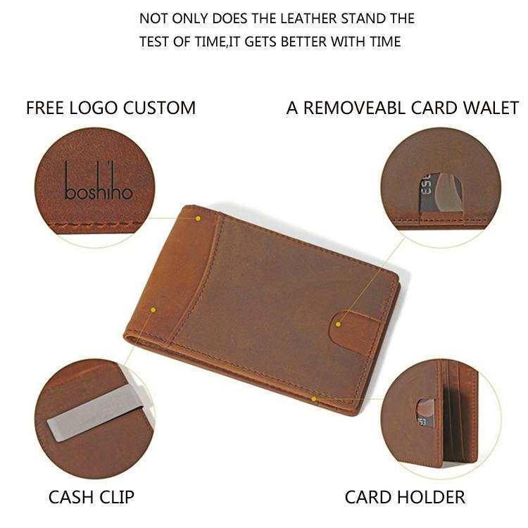 2018 wholesale slim bifold leather money clip slim wallet